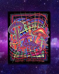 magic mushrooms black light tapestry vibelava home decor tapestries magic