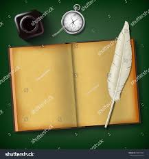 Wooden Table Background Vector Notepad Feather Inkwell Clock On Wooden Stock Vector 676677364