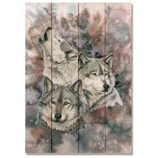artwork on wood family of wolves artwork on wood planks upscale consignment
