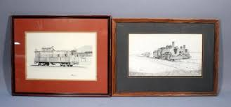 john t fitzgerald original pen and ink train railroad sketches