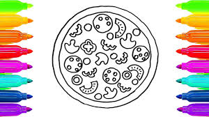 how to draw pizza coloring book for kids learning colouring