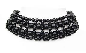 beaded choker necklace images Black bead gothic burlesque prom bridesmaid dress party choker jpg