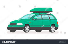 green station wagon family car station wagon roof rack stock vector 739149157