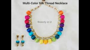 coloured beads necklace images Beautiful multi color silk thread necklace tutorial jpg