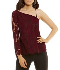 one shoulder blouse purple exposed shoulder 1 state flounce one shoulder blouse