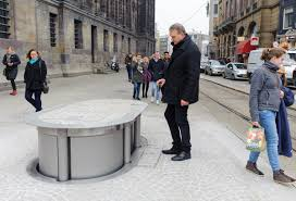 imagine a pop up toilet urilift rises from the ground