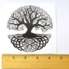 celtic knot tree of black enamel decal white delphi glass