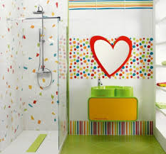fun color schemes bathroom heart shaped sink with bright vanity for fun kids