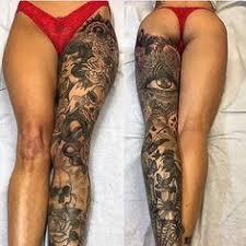 leg biker tattoos leg