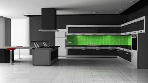 kitchen style dark gray flat cabinet electric green tile