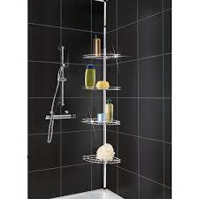 Bathroom Shower Organizers Bathroom Modern Tension Pole Corner Shower Caddy Nickel Tension