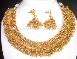 temple design gold earrings gold plated temple design necklace ramleela earring set buy