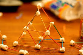building toothpick and marshmallow structures while drinking