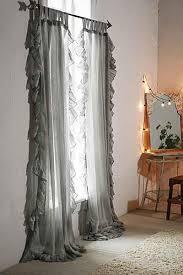 Plum And Bow Curtains And Bow Grey Ruffle Gauze Curtain