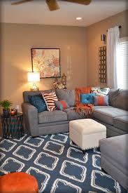 spectacular blue and orange living room for diy home interior