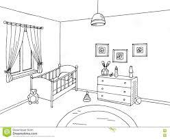 Room Sketch Baby Room Black White Interior Graphic Art Sketch Illustration