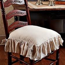 French Country Chair Cushions - new french country shabby chic flax tan ruffled chair pad cushion