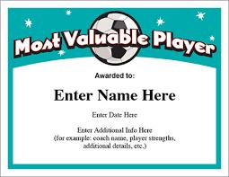 mvp soccer certificate template free award certificates