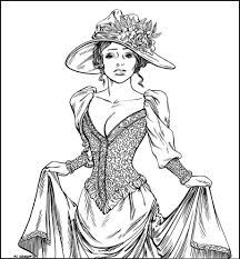 victorian woman realistic coloring pages for adults free