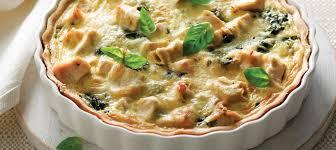 recette de cuisine quiche au poulet quiche au poulet aux épinards et au basilic recette plaisirs
