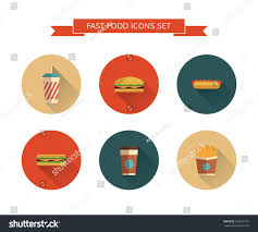 fast food icons set on isolated stock vector 225652777 shutterstock