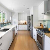 exquisite small galley style kitchen decoration using white