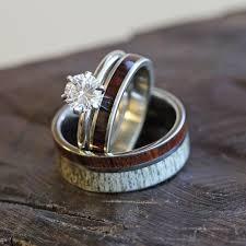 wooden wedding ring sets deer antler wedding ring set and wood bridal set