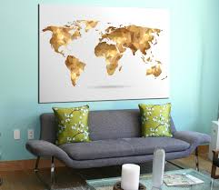 golden geometric world map canvas panels set large modern