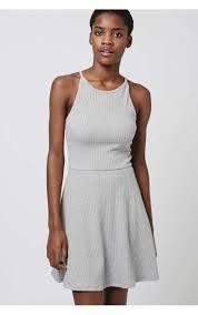 topshop dress topshop marl grey thick ribbed strappy skater dress uk 6 14 ebay