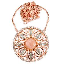 natural topaz necklace images Natural pink opal white topaz 925 sterling silver 14k rose gold JPG