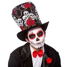 day of the dead top hat adults fancy dress halloween mens skeleton