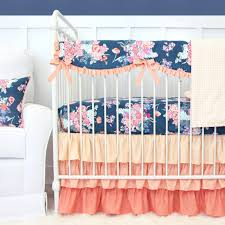 Nursery Bedding Sets For Girl by Charleigh U0027s Coral U0026 Navy Floral Bumperless Crib Bedding Caden Lane