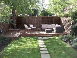 ideas interesting wooden fence with concrete walkway and green