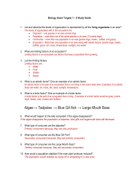 biology learning target 1 5 test study guide answer key