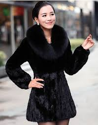 2017 women u0027s rabbit fur coat fox fur collar medium long hooded fur