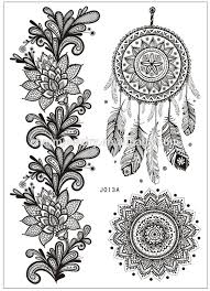flas waterproof temporary lace tattoo black women henna j013a