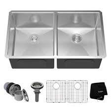 stainless steel double bowl undermount sink kraus undermount stainless steel 33 in 50 50 double bowl kitchen