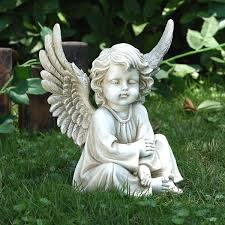 sitting cherub garden statue lawn memorial decor garden