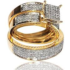 trio wedding sets 1cttw diamond yellow gold trio wedding set his and