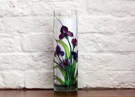 hand painted irises vase tiffany style flowers vase round