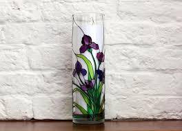 Vase With Irises Hand Painted Irises Vase Tiffany Style Flowers Vase Round