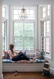 window reading nook window seat in bay window on second floor of a federal row house in