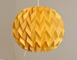 bubble origami paper lamp shade lantern pendant gold yellow