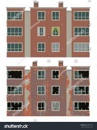 apartment building design residential apartment building new old house stock vector