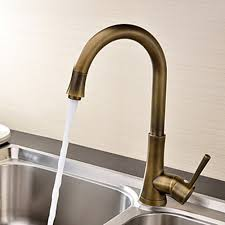brass kitchen faucet antique brass finish single handle deck mounted kitchen faucet