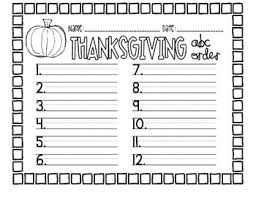 thanksgiving abc order freebie abc order