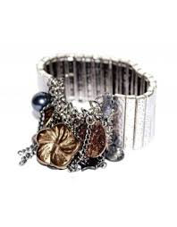 metal bracelet charms images Wide silver metal bracelet with gray copper brown charms jpg