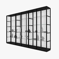 glass cabinet porro ex libris glass cabinet 3d model cgtrader