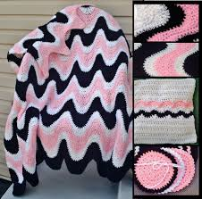 Crochet Patterns For Home Decor Crochet Pattern 102b Pdffor 3 Color Exaggerated Ripple Afghan