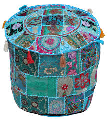Bulk Home Decor Cover In Patchwork With Turquoise Base Colorful Tassels Home